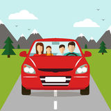 Family trip by car.  Vector. Family trip by car. Family Holidays. Vector illustration Stock Photo