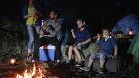 Family trip, dad tells stories for kids in journey, wife brought drink for husband that speaks with sons near bonfire. Into night forest, marshmallow on skewer stock video footage