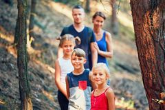 Family on the trip in forest Royalty Free Stock Photo