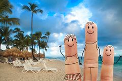Family on the beach. Exotic vacation. Family  on a tropical beach.  Exotic vacation Royalty Free Stock Image