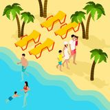 Family Tropical Beach Vacation Isometric Banner Stock Photos