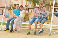 Family at tropical resort. Stock Images