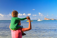 Family on tropical vacation stock photography