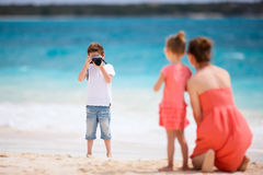 Family on tropical vacation Royalty Free Stock Photography