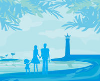 Family on tropical vacation Stock Photo