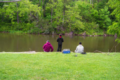 Family Trout Fishing Royalty Free Stock Image