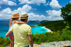 Family at Trunk bay on St John island Stock Photography