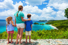 Family at Trunk bay on St John island Royalty Free Stock Image