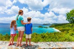 Family at Trunk bay on St John island Royalty Free Stock Photo