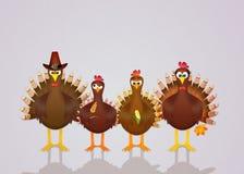 Family of turkeys Royalty Free Stock Photography