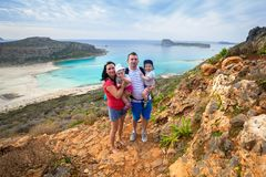 Family with twins on holidays at Balos beach of Crete. Greece Stock Images