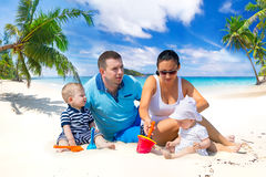 Family with twins on sun holidays Royalty Free Stock Photography
