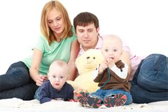 Family with two baby Royalty Free Stock Photos