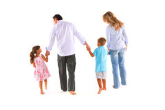 Family with two children. In white background Stock Image
