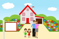 Family with two children on a background a new house Stock Photo