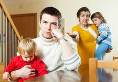Family with two children having quarrel Royalty Free Stock Images