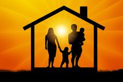 Family with two children in the house at sunset, silhouette vector. Royalty Free Stock Photography