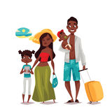 Family with two children and luggage arrived Vacation Royalty Free Stock Image
