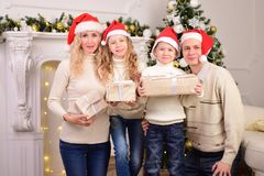 Family with two children, New year, Christmas Stock Images