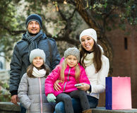 Family with two children posing Royalty Free Stock Photo