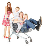 Family with two children with shopping basket Royalty Free Stock Image