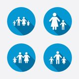Family with two children sign. Parents and kids. Family with two children icon. Parents and kids symbols. One-parent family signs. Mother and father divorce Stock Photography