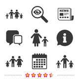 Family with two children sign. Parents and kids. Stock Image