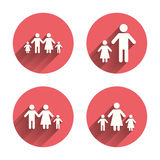 Family with two children sign. Parents and kids Royalty Free Stock Image