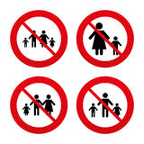 Family with two children sign. Parents and kids Royalty Free Stock Photography