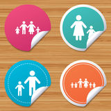 Family with two children sign. Parents and kids. Royalty Free Stock Photos