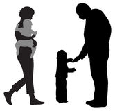 Family with two children silhouette  Royalty Free Stock Photo