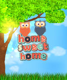 Family of two cute owls with text sweet home Stock Photography
