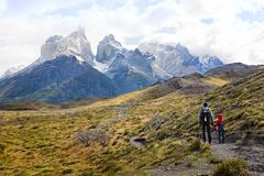 Family in patagonia. Family of two, father and son, enjoying gorgeous view of cuernos del paine in torres del paine national park in chile, active family Royalty Free Stock Photography