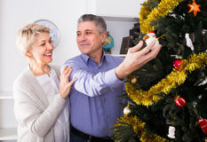 Family of two are hang up New Year`s toys on a fir-tree. Before Christmas holiday royalty free stock images
