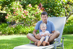 Family of two at hawaii vacation Royalty Free Stock Image