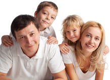 Family with two kids Stock Images