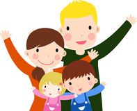 Family with Two Kids. Illustration art Royalty Free Stock Image