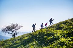 Family in a hike Royalty Free Stock Images