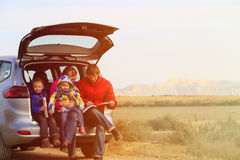 Family with two kids travel by car in mountains Royalty Free Stock Images