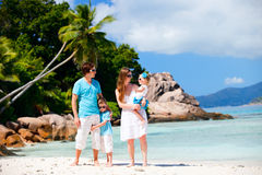 Family with two kids on vacation Stock Photo