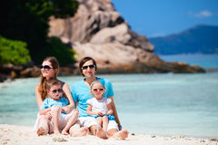 Family with two kids on vacation royalty free stock images