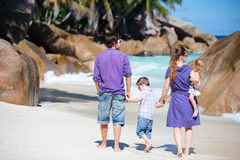 Family with two kids on vacation stock photos