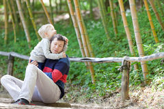 Family of two outdoors Stock Images