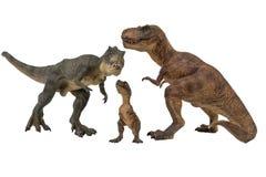 Tyrannosaurus rex with baby tyrannosaurus rex isolated on white background