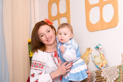 Family in Ukrainian national costumes Stock Photo