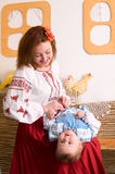 Family in Ukrainian national costumes Royalty Free Stock Image