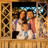 Family in Ukrainian national costumes. Royalty Free Stock Images