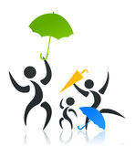 Family with an umbrella Stock Photo