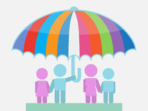 Family Umbrella Sheltering from Storm Illustration Royalty Free Stock Image