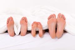 Family under duvet royalty free stock photos